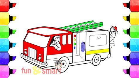cara mewarnai gambar mobil pemadam kebakaran