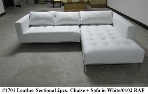 2pc modern contemporary white leather sectional sofa 1701