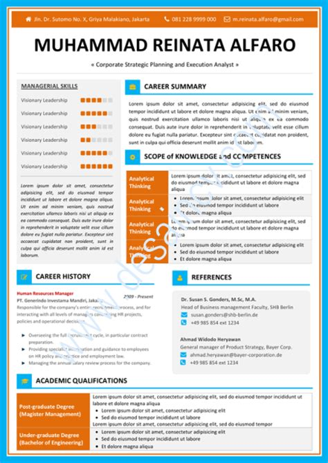 Template Resume Menarik by Desain Cv Kreatif Contoh Cv Menarik Filano