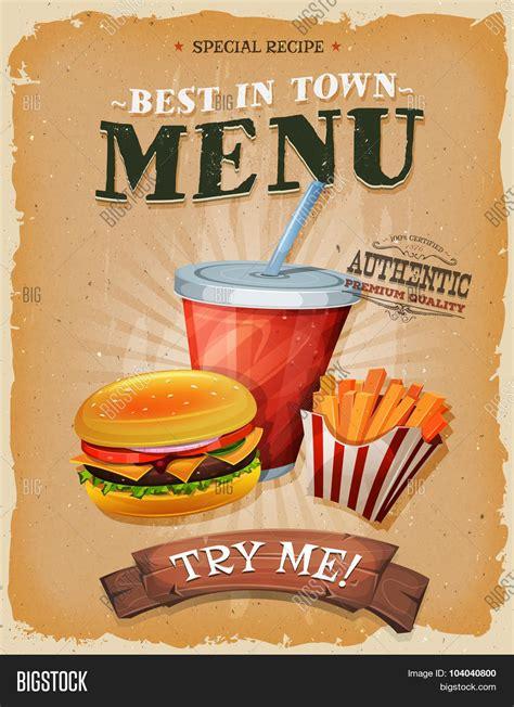 affiche vintage cuisine grunge vintage fast food menu vector photo bigstock