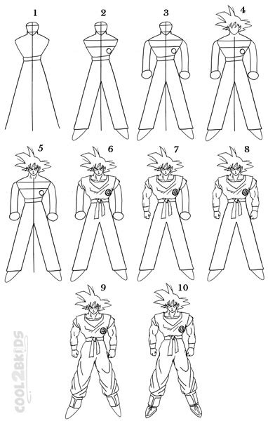 draw goku step  step pictures