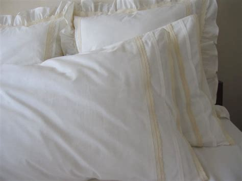 ivory shabby chic bedding plain ivory standard queen pillowcase eyelet lace trim shabby
