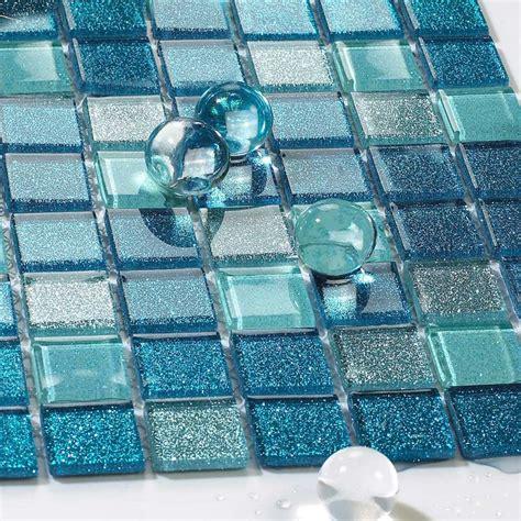Blue Glass Tile Bathroom Floor Clear Crystal Mosaic