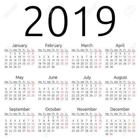 2019 Calendar Template Yearly Calendar 2019 Calendar Template Excel