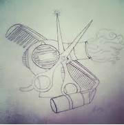 Sleeve  Tattoo  Blowdryer  Lipstick  Comb  Scissors  Sketch  Drawing      Comb Sketch