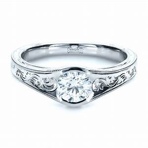 custom hand engraved solitaire engagement ring 1186 With custom engraved wedding rings
