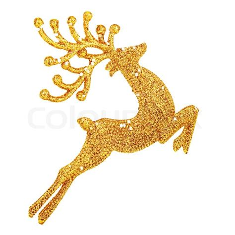 beautiful golden reindeer toy isolated on white background