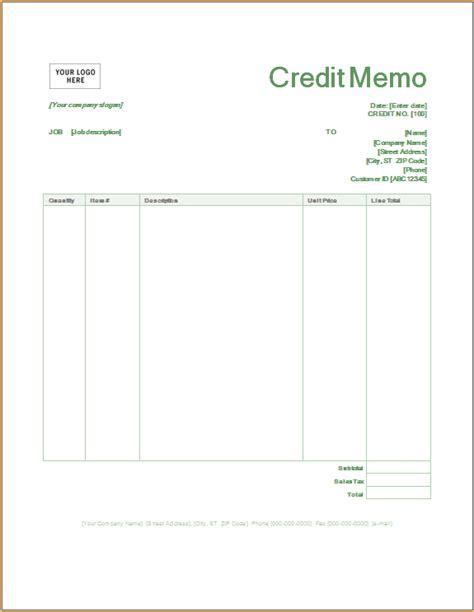 credit memo word excel templates