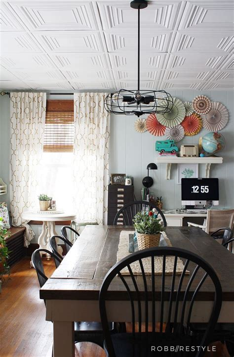 How To Easily Update An Ugly Drop Ceiling  Diy Home Decor
