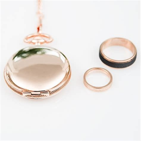 rose gold pocket wedding ring holder with chain weddingstar