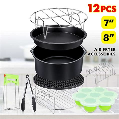 fryer air cooking tools kitchen baking 8qt pan pizza cake oven grill 12pcs philips inches plate pot basket barrel walmart