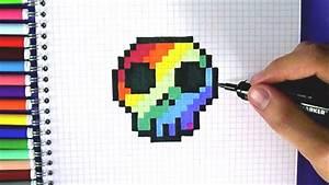 Pixel art comment dessiner une tete de mort arc en ciel for Commentaire faire une couleur beige 8 bleu atelier mon petit monde