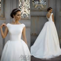 simple country wedding dresses simple style 2016 white wedding dresses neck cap sleeve gowns chapel milla