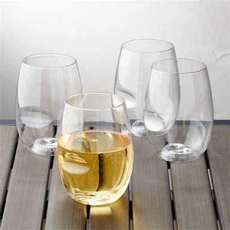 govino shatterproof plastic stemless wine glasses set