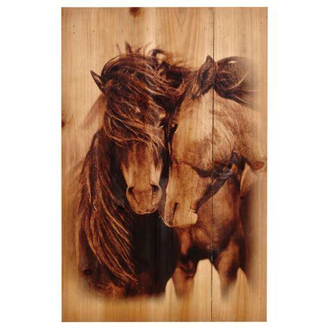 Two Horses Wood Panel