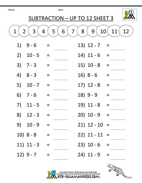 free subtraction sheets mental subtraction to 12 3 gif
