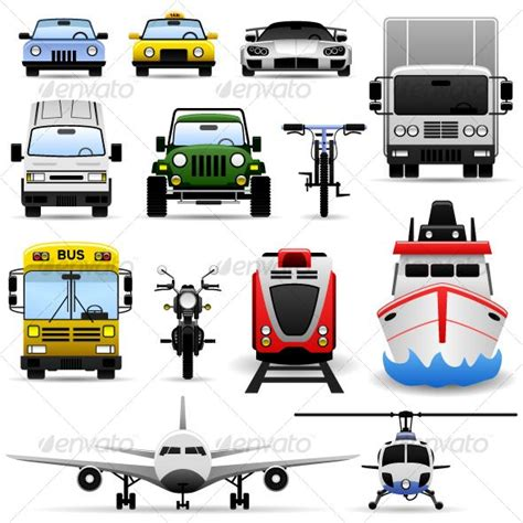 Transportation Vehicle Icon Set #graphicriver A Set Of Transportation Vehicles Range From Ground