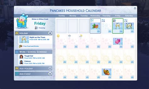 sims seasons calendar feature
