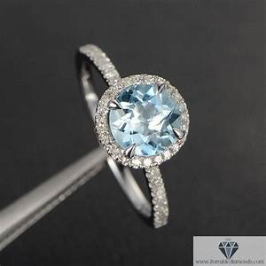 aquamarine diamond pave halo engagement ring round cut With aquamarine diamond wedding ring