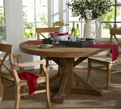 pottery barn kitchen furniture benchwright fixed pedestal dining table wax pine finish