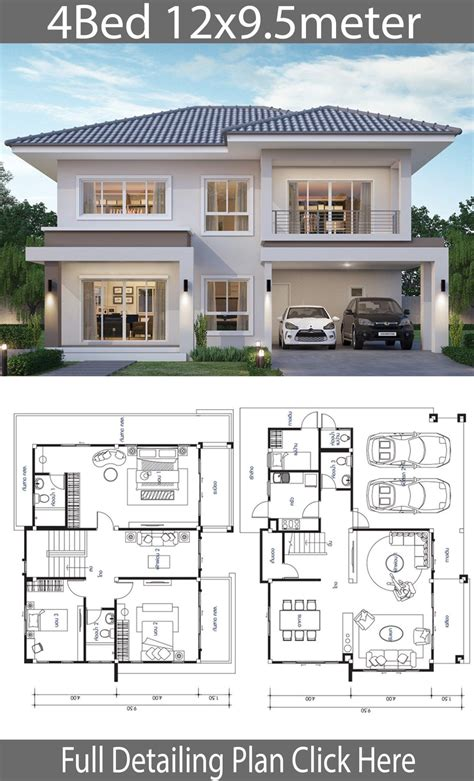 House design plan 12x9 5m with 4 bedrooms Home Design