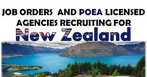 apply now new zealand jobs with poea approved job orders
