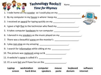 computer technology matching rhymes worksheet with