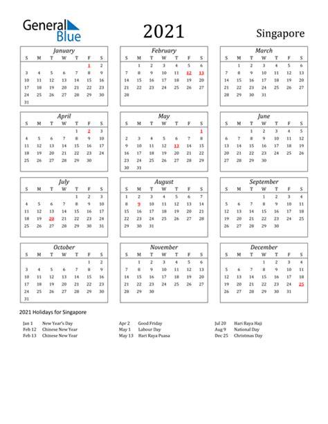 calendar singapore  holidays
