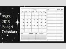 2016 Budget Calendar Free Printable YouTube