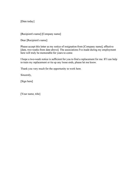 weeks notice letters resignation letter templates