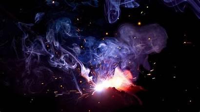 Smoke Sparks Colored Flash Welding Dark Background