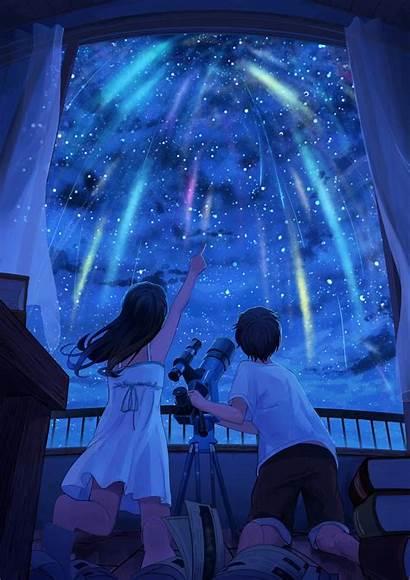 Anime Pointing Finger Night Window Lights Stars