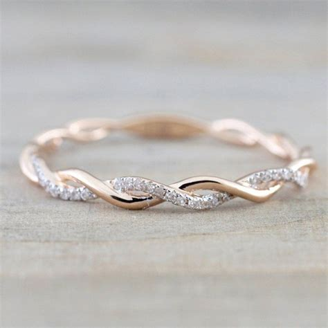 women s fashion 14k solid rose gold stack twisted