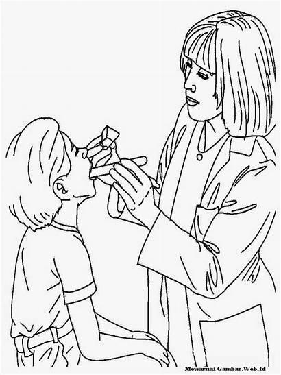 Gambar Gigi Memeriksa Dokter Kartun Mewarnai Sakit