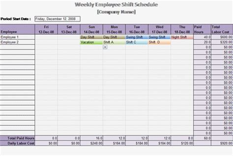 schedules template in excel work schedule template weekly employee shift schedule