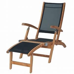 Chaise Jardin Bois : chaise longue de jardin noire bois teck capri maisons du monde ~ Teatrodelosmanantiales.com Idées de Décoration