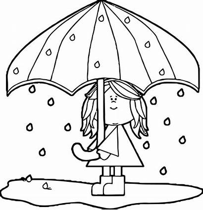 Coloring April Pages Showers Umbrella Flowers Bring