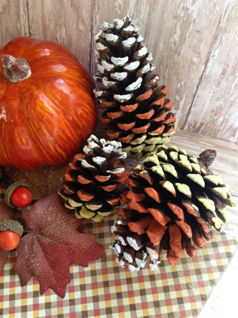 Hand Painted Candy Corn Pine Cones