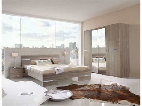 chambre 160x200 chambre complète coloris chêne montana et chrome