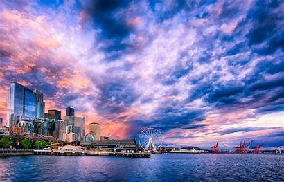 Seattle Desktop Waterfront Wallpapers Sunset Backgrounds Washington