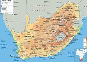Physical Map of South Africa - Ezilon Maps