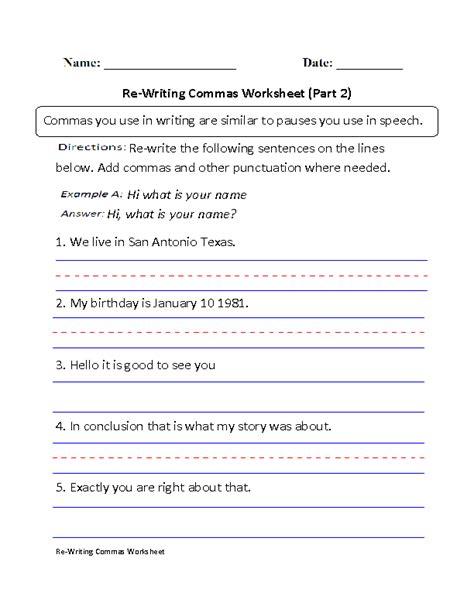 writing commas worksheet part  beginner  images