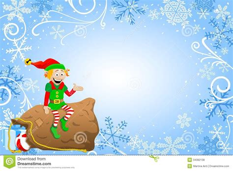 Christmas Background With Elf Stock Vector