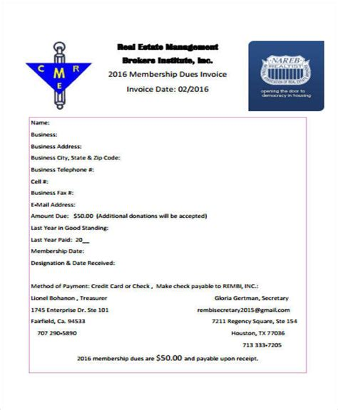 real estate invoice templates   ms word