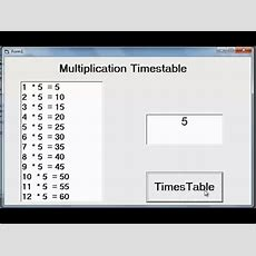 How To Create Multiplication Table In Visual Basic 6 Using