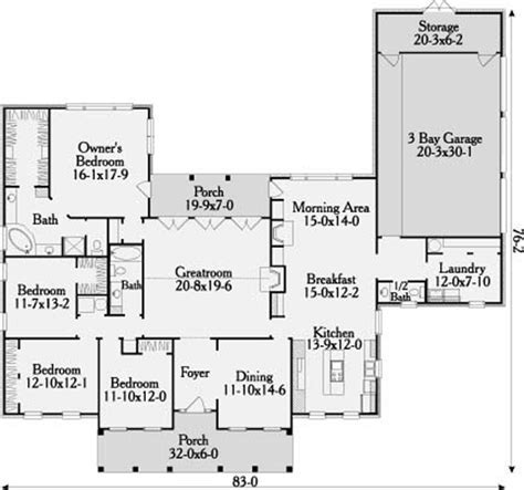 Savannah 3646   4 Bedrooms and 2 Baths   The House Designers