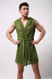 male bathrobe summer elastic nylon mesh robe men with a With robe de chambre courte homme