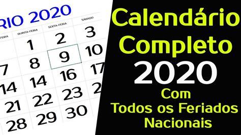 calendario todos os feriados nacionais completo
