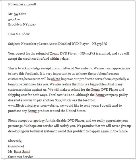 sample letter   goodwill adjustment  images frompo