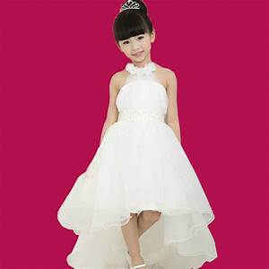 girls white flower bridesmaid party wedding faux pearl With kids dress wedding